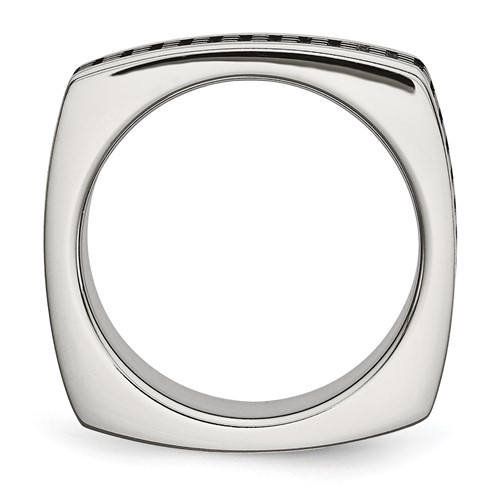 Stainless Steel Brushed/Polished and Textured Black IP-plated Square Band