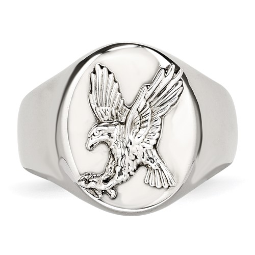 Stainless Steel Polished with Sterling Silver Rhodium-plated Eagle Ring
