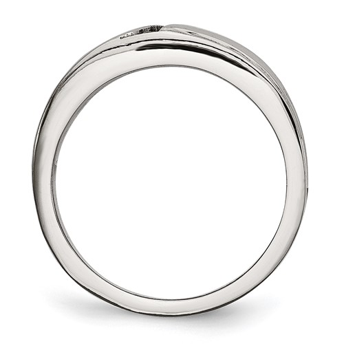 Stainless Steel Polished with CZ Ring