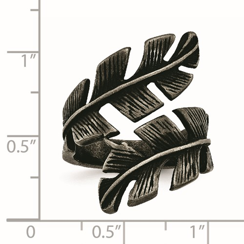 Stainless Steel Antiqued Leaf Wrap Ring