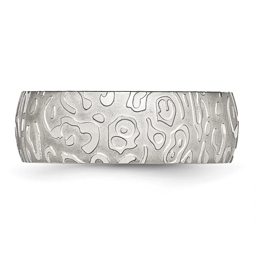 Chisel Stainless Steel Brushed and Polished Textured 8mm Band