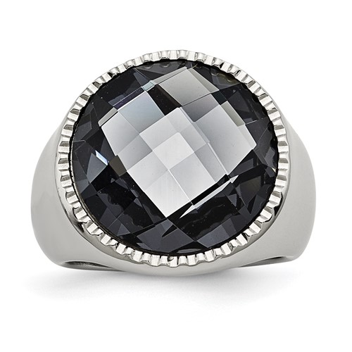 Stainless Steel Polished Grey Glass Ring
