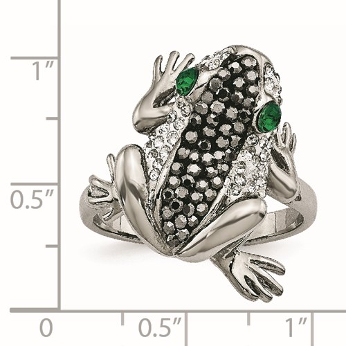 Stainless Steel Polished with Crystal Frog Ring