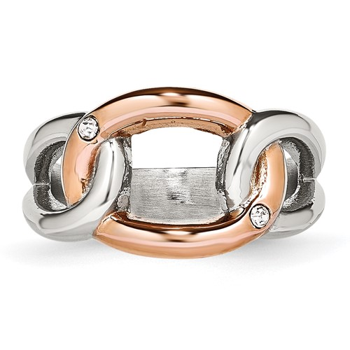 Stainless Steel Polished Rose IP Plated Crystal Ring