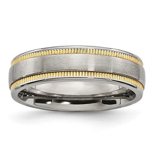 Stainless Steel Brushed and Polished Yellow IP-plated Band