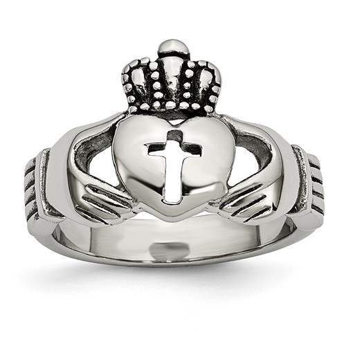 Stainless Steel Polished Antiqued Claddagh with Cross Ring