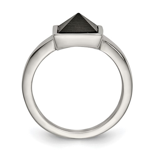Stainless Steel Polished with Solid Black Carbon Fiber Geometric Ring