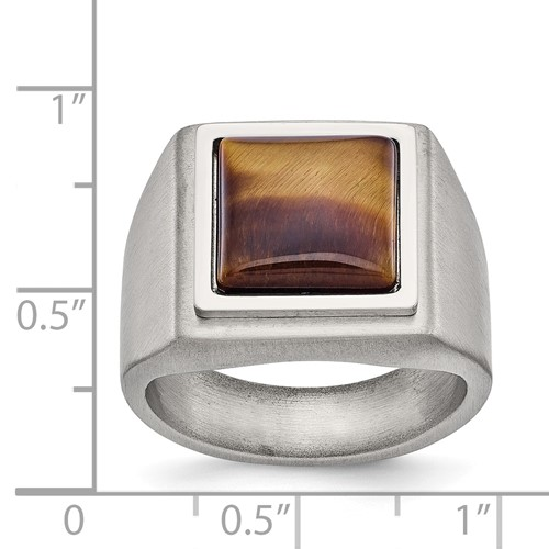 Stainless Steel Brushed and Polished Tiger's Eye Signet Ring