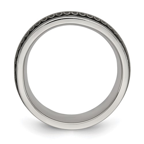 Stainless Steel Polished Black IP-plated 7.80mm Band