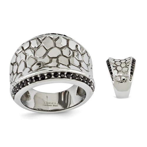 Chisel Stainless Steel Hammered and Black Crystal Ladies Ring