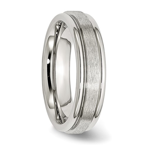 Chisel Stainless Steel Grooved Edge 6mm Satin and Polished Band