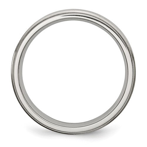 Chisel Stainless Steel Grooved Edge 6mm Brushed and Polished Band