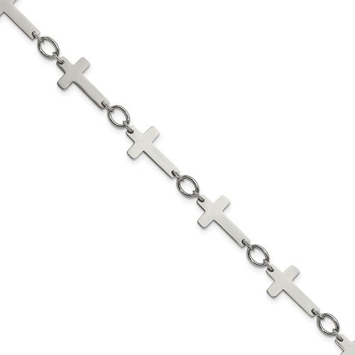 Chisel Stainless Steel Polished Sideways Cross 10 inch Anklet