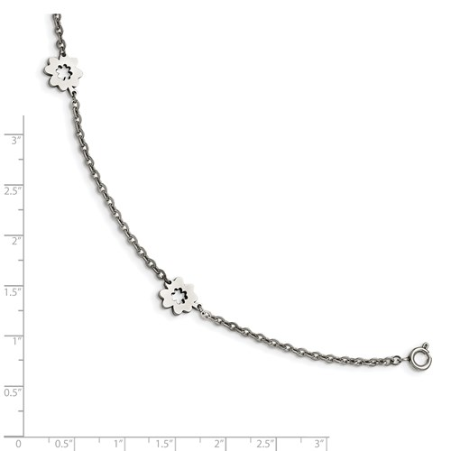 Stainless Steel Polished Flowers with 1in extension Anklet