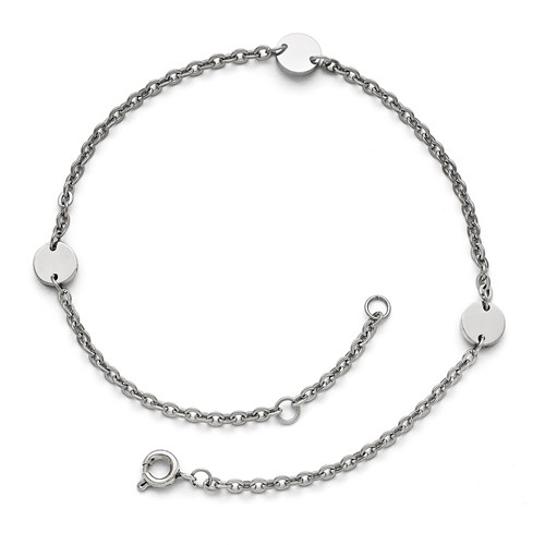 Stainless Steel Polished Round Charms with 1in extension Anklet