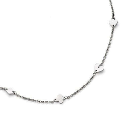 Stainless Steel Polished Poker Charms with 1in extension Anklet