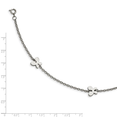 Stainless Steel Polished Butterfly Charms with 1in extension Anklet
