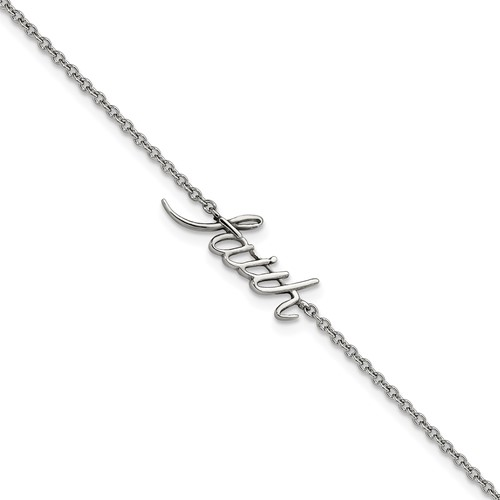 Stainless Steel Polished FAITH with 1in ext. Anklet