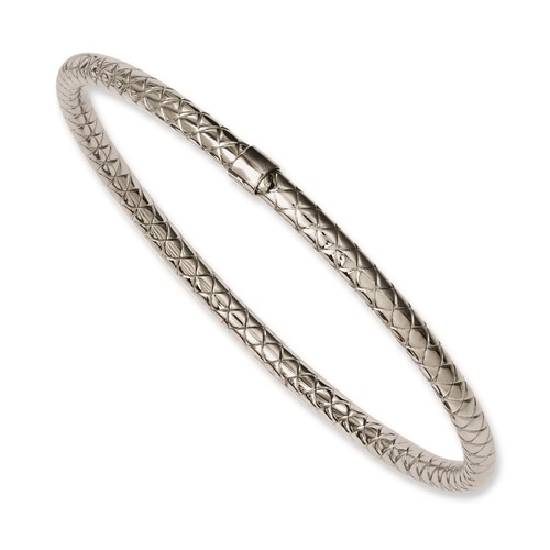 Chisel Stainless Steel Textured and Polished Hollow Slip-on Bangle