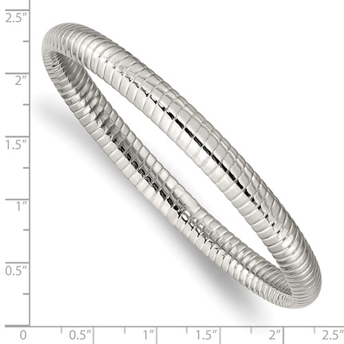 Chisel Stainless Steel Textured Hollow Slip-on Bangle