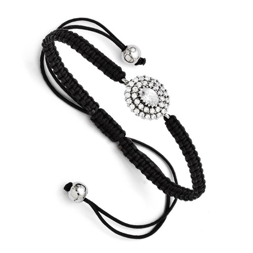 Chisel Stainless Steel CZ Black MacramT Adjustable Bracelet