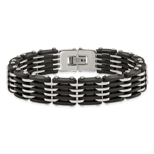 Stainless Steel Polished Black Rubber Bracelet