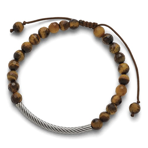 Stainless Steel Polished Bar and Tigers Eye Adjustable Macrame Bracelet