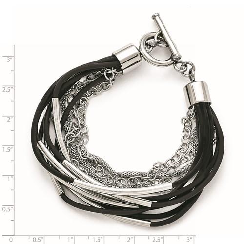 Stainless Steel Black Rubber Multi-layer Bracelet