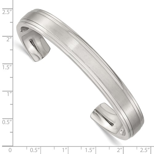 Stainless Steel Polished and Brushed Double Step Edge Bangle