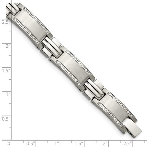 Stainless Steel Polished/Brushed 1ct tw. Diamond Bracelet