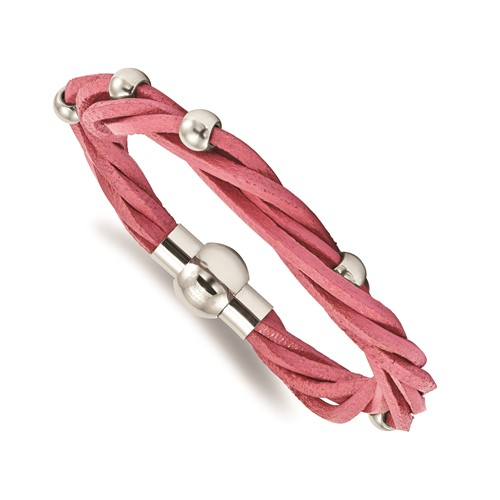 Stainless Steel Polished Bead Pink Leather Bracelet