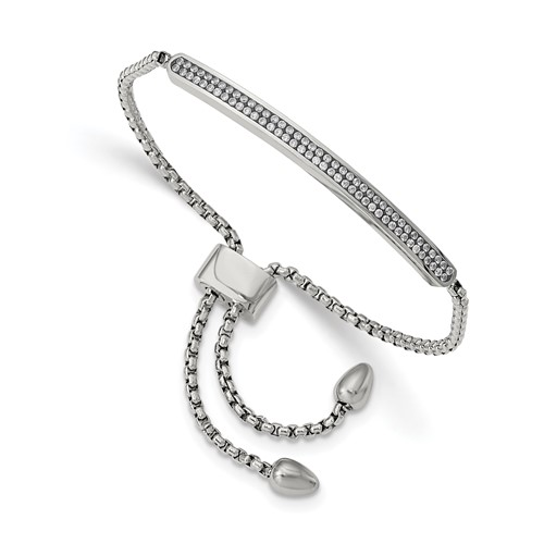 Stainless Steel Polished with 2 Row CZ Bar Friendship/Bolo Adj Bracelet