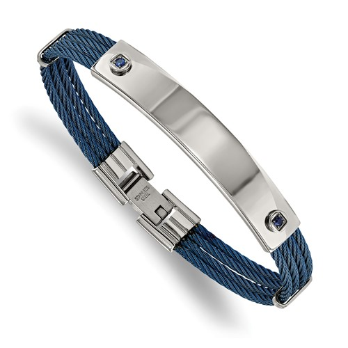 Stainless Steel Polished Blue IP-plated Cable Blue CZ 7.25in ID Bracelet