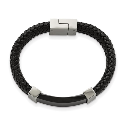 Stainless Steel Polished Black IP-plated with Black Leather 8.5in Bracelet