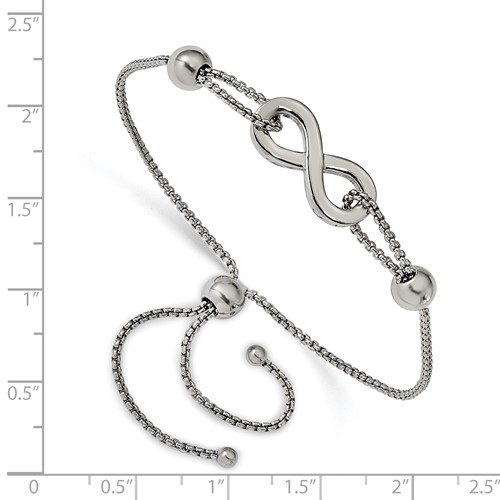 Stainless Steel Polished Infinity Symbol Adjustable Bracelet