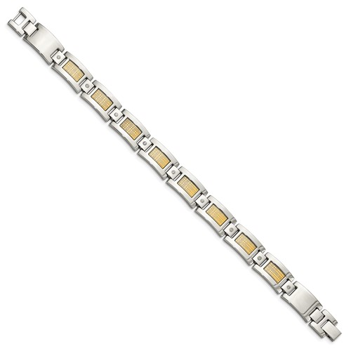 Stainless Steel with 18k Polished Textured Diamond Link Bracelet