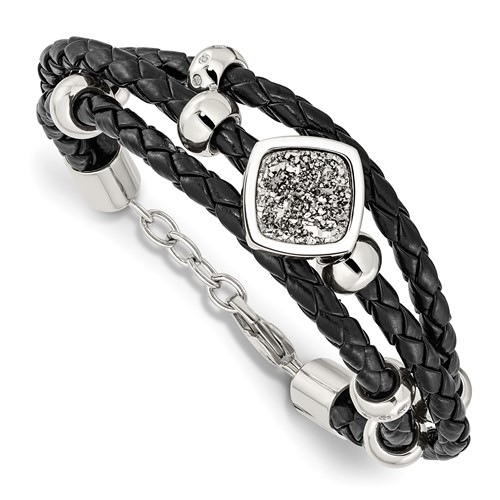 Stainless Steel Polished with Druzy and Crystal Leather with .75in ext. Bracelet