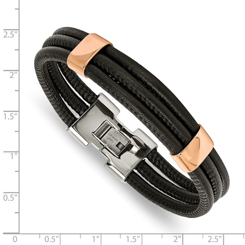 Stainless Steel Polished Rose IP Blk Leather 8 inch Bracelet