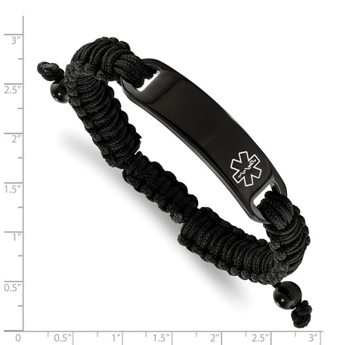 Stainless Steel Polished Black IP Nylon Adjustable Medical ID Bracelet