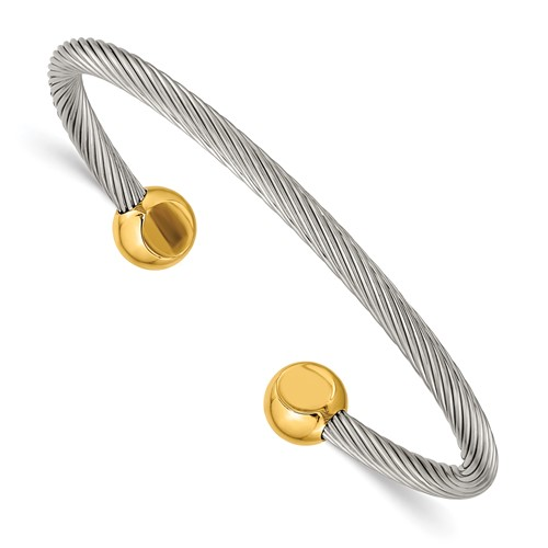 Chisel Stainless Steel Gold Accent Cuff Bangle