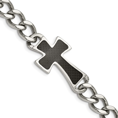 Chisel Stainless Steel Carbon Fiber Cross Curb Chain Bracelet