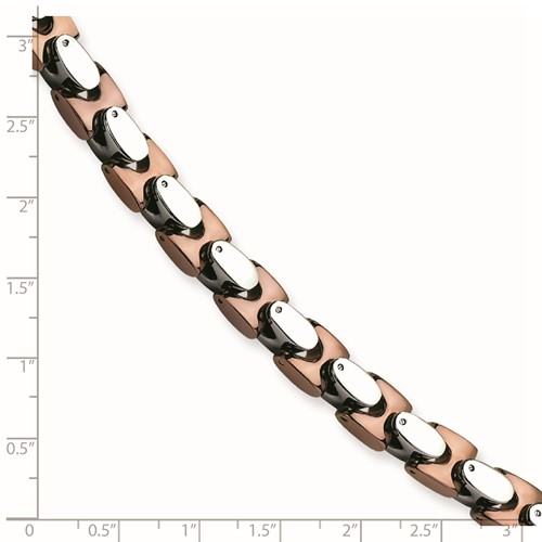 Chisel Stainless Steel Chocolate Plated Polished Fancy 9 inch Bracelet