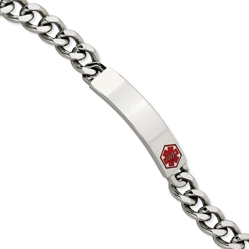 Chisel Stainless Steel Red Enamel 9.5 inch Medical Bracelet