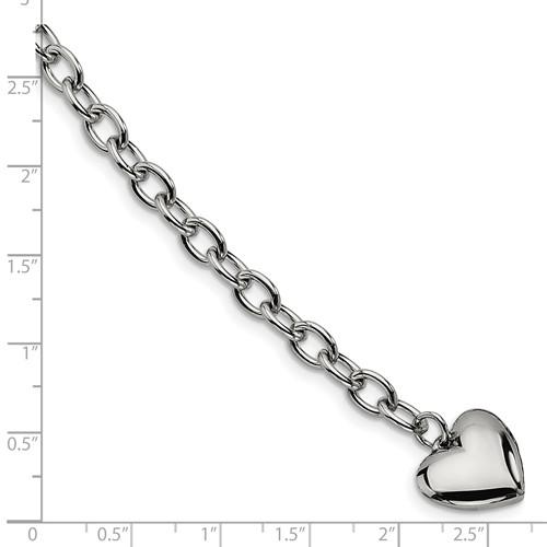 Chisel Stainless Steel Polished Open Link Heart 8.5 inch Bracelet