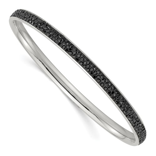 Chisel Stainless Steel Black Crystal Bangle
