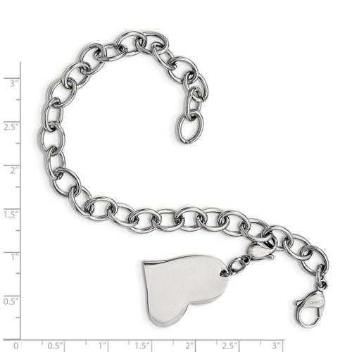 Chisel Stainless Steel Heart Charm 8 inch Bracelet