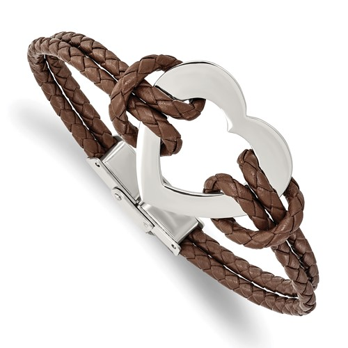 Chisel Stainless Steel Polished Heart 7.5 inch Leather Bracelet