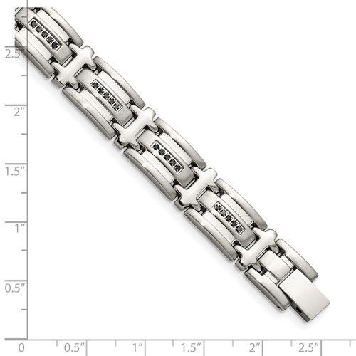Chisel Stainless Steel Black Diamond Polished 8.5 inch Bracelet