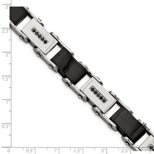 Chisel Stainless Steel Black-plated with Black Diamond Polished 8.5 inch Bracelet