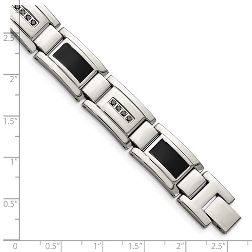 Chisel Stainless Steel Black Enamel and Black Diamond 8.5 inch Bracelet